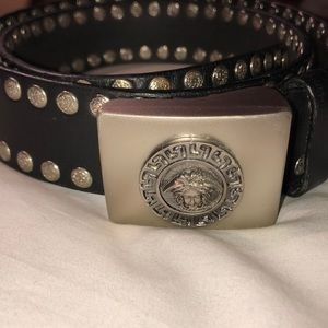 Versace 💯Authentic, BLK,leather stud belt,Men/38